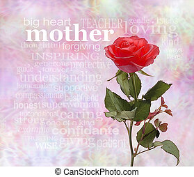 Mothering Sunday Poster - One upstanding single rose on the...