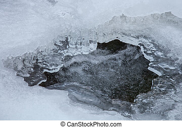 Water stream under ice - Beautiful view of flowing water...