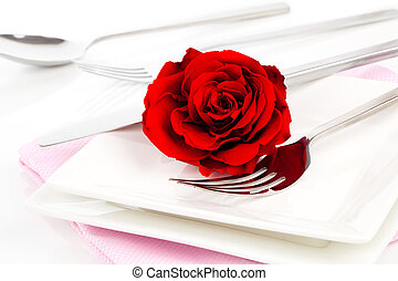 Valentines table setting with an gift box, to celebrate the holi