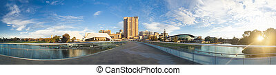 Adelaide city in Australia at sunset - Downtown area of...