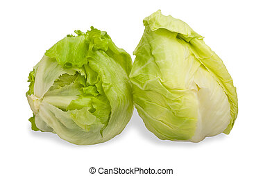 Iceberg lettuce - Green Iceberg lettuce isolated on White...