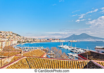 Naples bay view from Mergellina with Mediterranean sea -...