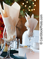 Table place setting with place card