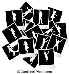 A pile of photo frames with children silhouettes