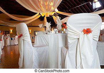 boda, Lugar, cubierto, sillas, techo, decoración