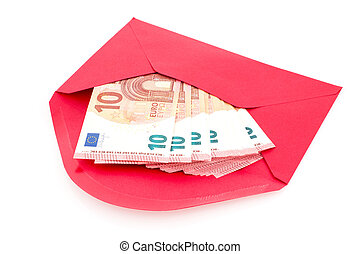 Red envelope with money - Corruption concept. Red envelope...
