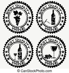 Grunge rubber stamps with wine symbols