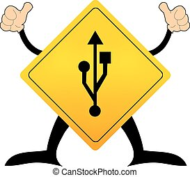 Yellow road sign with usb pictogram