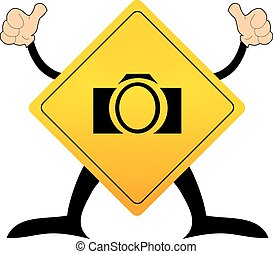 Yellow road sign with camera pictogram