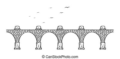 stone bridge - Sketch of the old stone bridge and birds