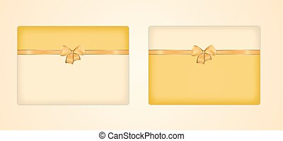 greeting cards - two greeting cards with ribbon and bow on...