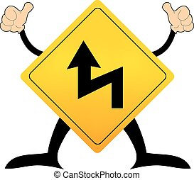 dangerous corner ahead, traffic sign vector