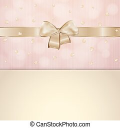 invitation card with gold ribbon and bow with pink and beige...