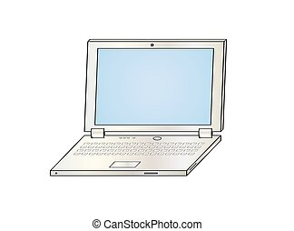 laptop - illustration of the silver laptop on white...