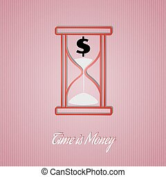 time is money wit sand glass on red cardboard background