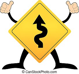 Traffic sign vector with winding road