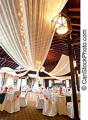 Wedding reception room - A wideangle view of an wedding...