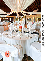 Wedding reception hall - A wideangle view of a wedding...