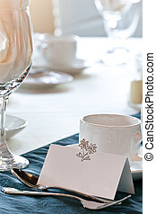 Closeup of blank placecard on wedding table - A closeup of a...