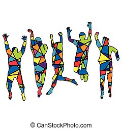 People jumping. Silhouette patterned in colorful mosaic background