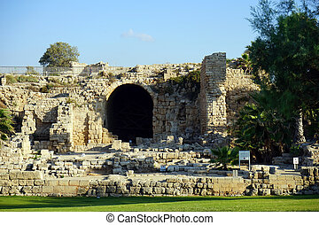 Caesarea - Ruins of big temple in roman Caesarea, Israel...