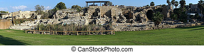 Caesarea - Panorama of ruins in ancient city Caesarea,...