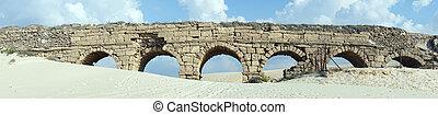 Aqueduct - Panorama of ancient aqueduct near Caesarea,...