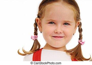 niña, trenzas, retrato, -, cara