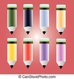 Bright colorful pencils. Vector icons