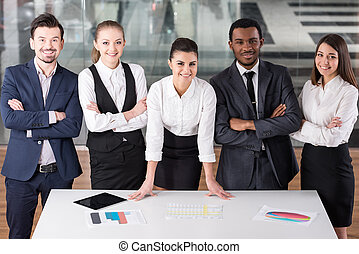 Business people - Group of business people during work in...