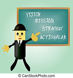 business man pointing business concept vision - mission - strate
