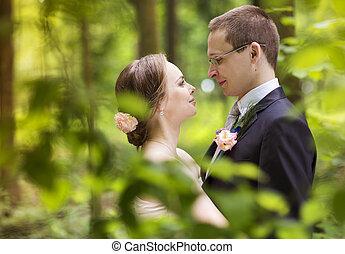 夫婦, 婚禮, 步行