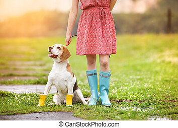 Young woman in wellies walk her dog - Young woman in dress...