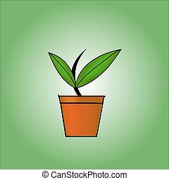 Plant in the pot. Growing idea concept. Vector illustration.