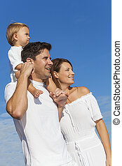 Happy Man Woman Child Family Blue Sky - Portrait of a man...
