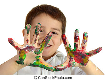 Hands in paint - Little boy painting with hands with...