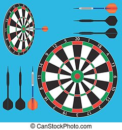 dart board and darts - vector illustration of dart board and...