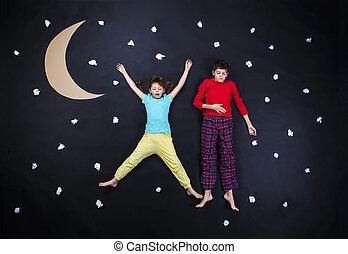 Adorable children getting ready for night sleep - Children...