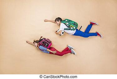 rennender, Kinder, Schule