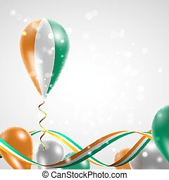 Flag of Cote dIvoire on balloon Celebration and gifts Ribbon...
