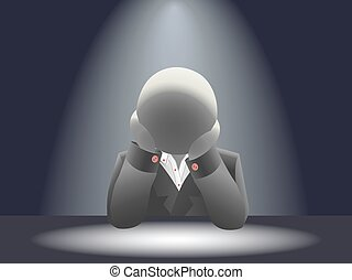 Faceless businessman in a difficult situation in the dark