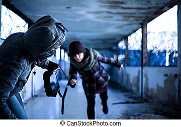 Snatcher Stealing a Bag from a Woman