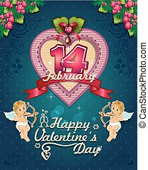 Valentine s Day Poster labeleps - Poster hearts cupid and...