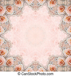 beige wedding background with roses, lace