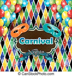 Carnival harlequin background - Carnival masks balloons and...