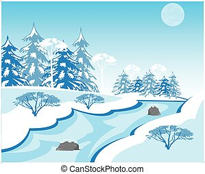 River in winter - Vector illustration of the winter...