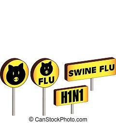3D Swine Flu Signs