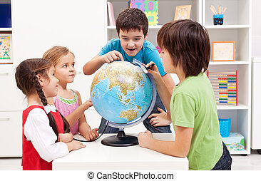 Kids working on a science project