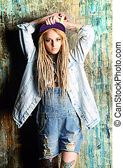 jeans generation - Modern teenage girl with blonde...