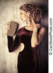 hairdressing - Charming young woman wearing elegant evening...